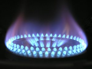 A picture of a gas flame on a hob